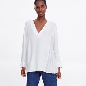 Zara blouse with side pleats